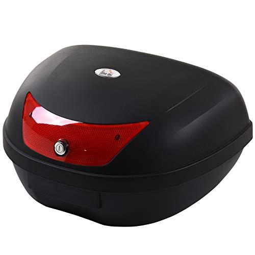 HOMCOM Baul de Moto Maletero de Scooter para 1 Casco Integral y 1 Medio Capacidad de 48 L Cerradura con Dos Llaves Accesorios 59x43x33 cm Negro